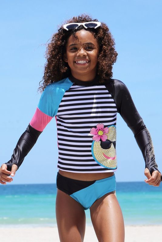 60% OFF Limeapple Emoji Swim Summer Rash Guard Set - product images