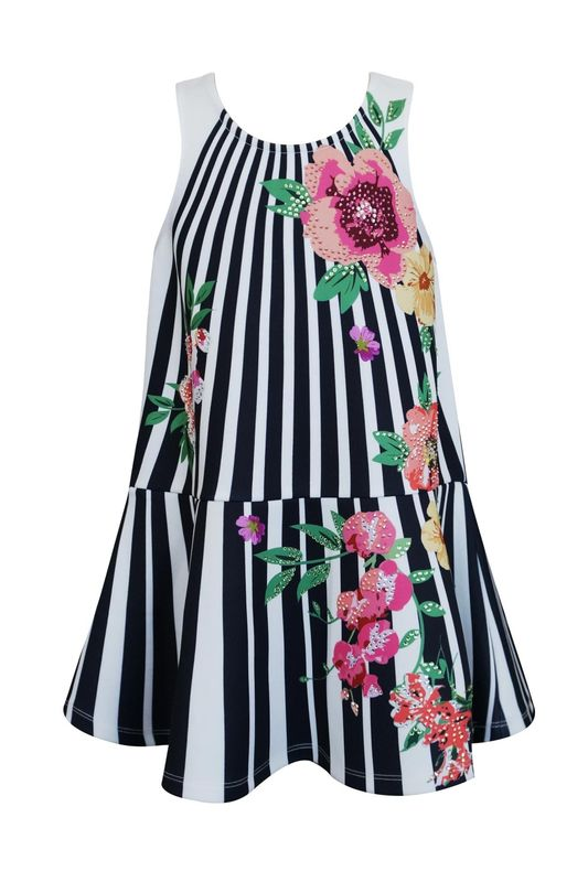 60% OFF Hannah Banana Floral Stripe Tank Dress - product images