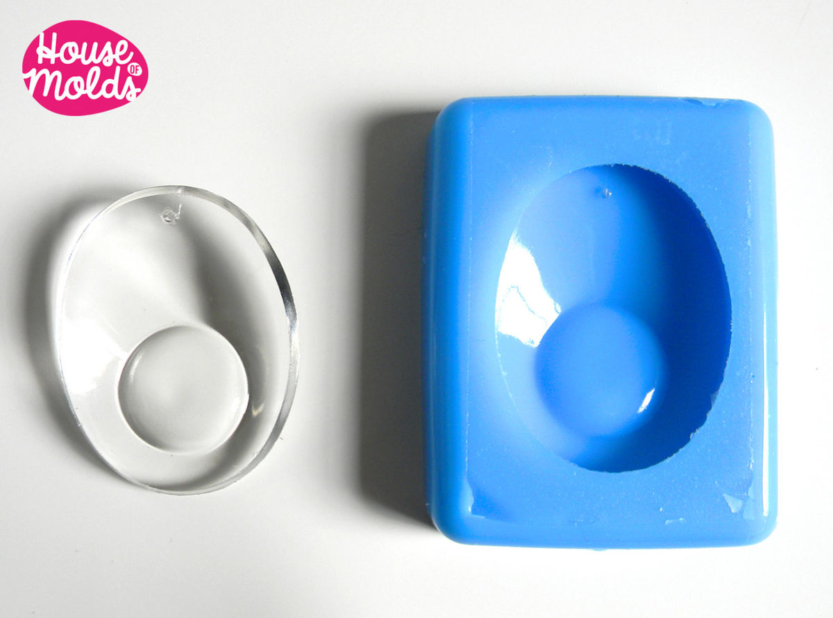Silicone Mold for Oval earrings with convex lens-mold for earrings-mold for home decorations - product images  of