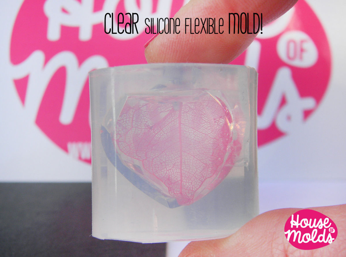 Clear Silicone Mold for Faceted Crystal Heart- HOUSE OF MOLDS 3d pendant mold for resin,super shiny surface  23mm x 23 mm x10mm - product images  of