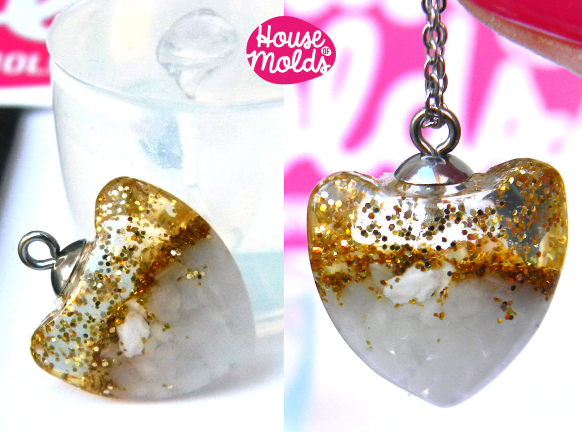 Clear Silicone Mold for Smooth Heart pendant- HOUSE OF MOLDS 3d