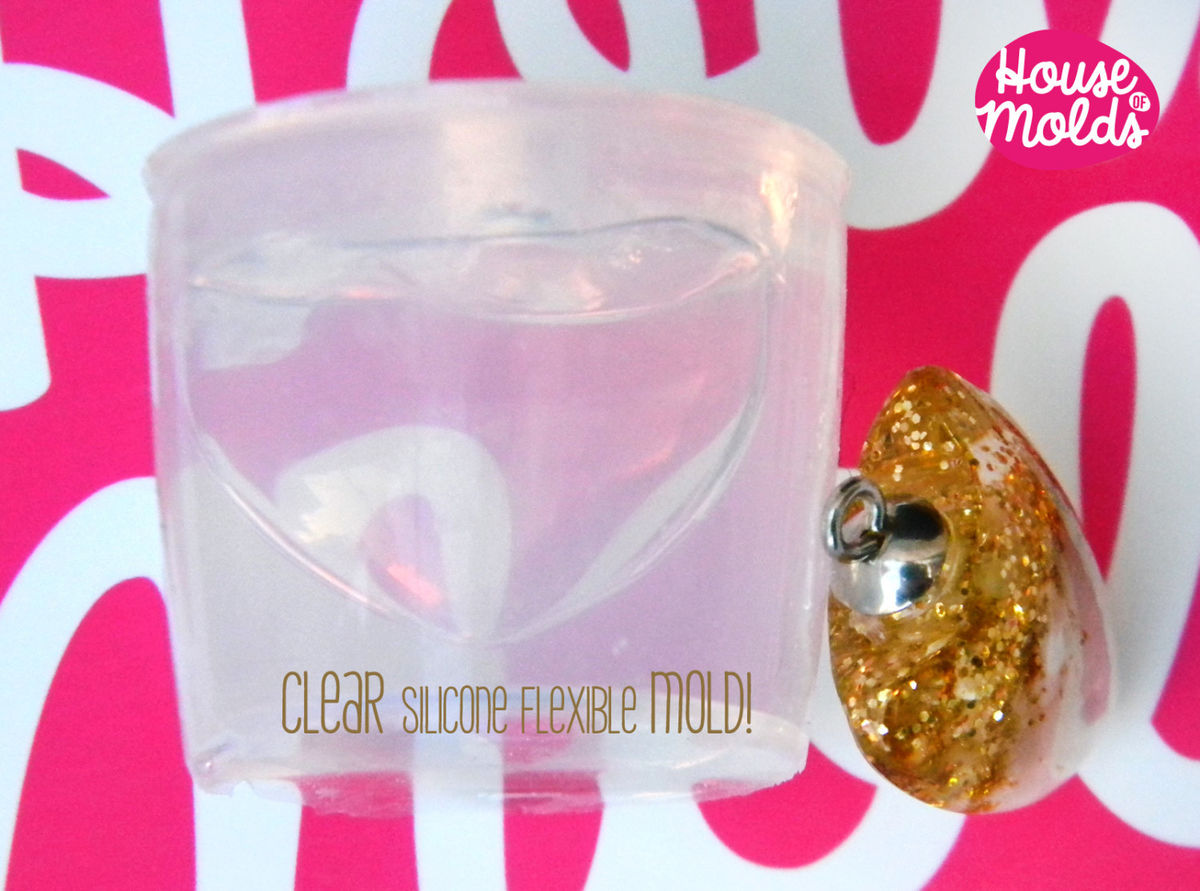 Clear Silicone Mold for Smooth Heart pendant- HOUSE OF MOLDS