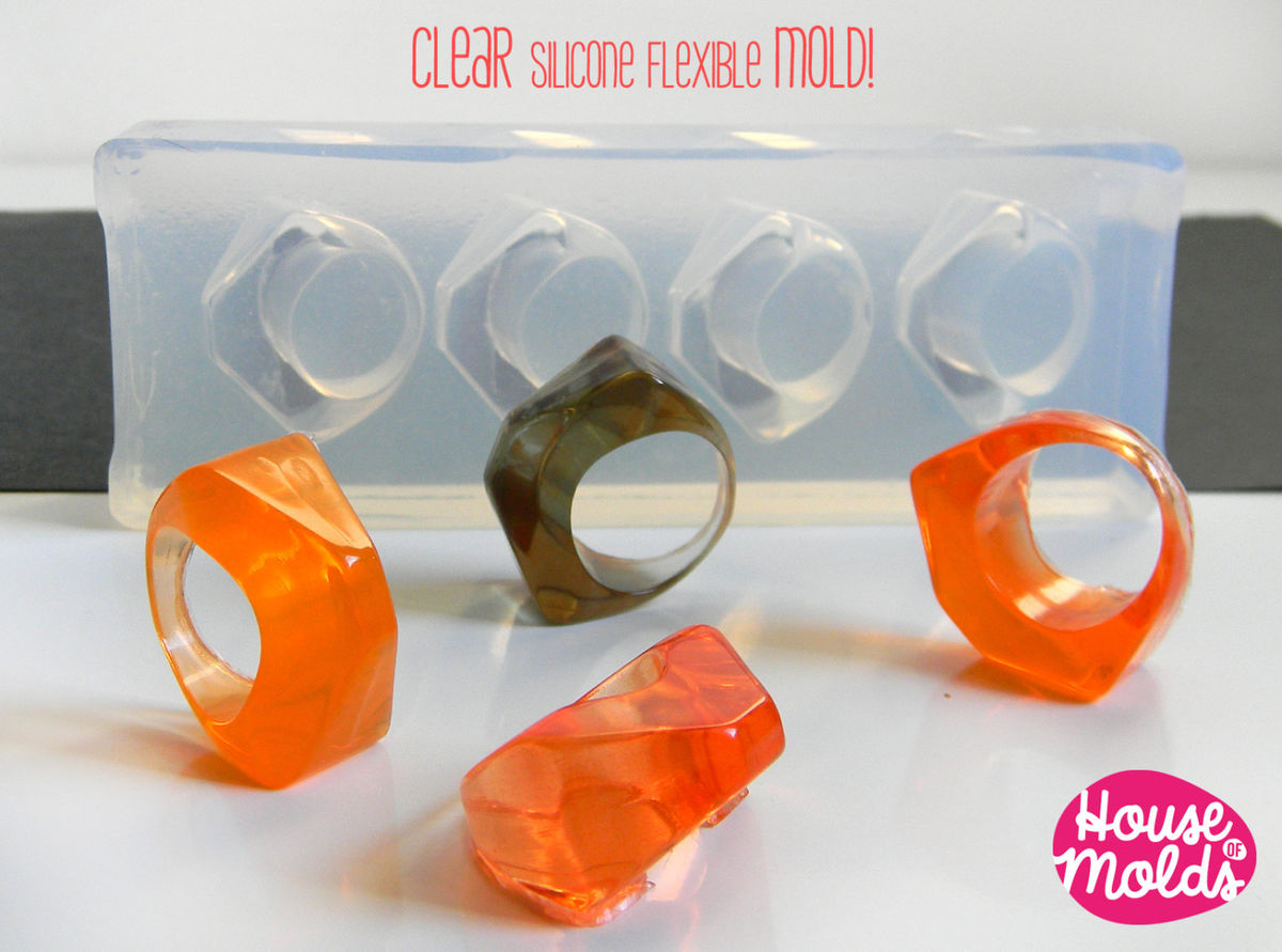 Clear Multi Size Mold for 4 sizes Triangle Rings- Clear Mold