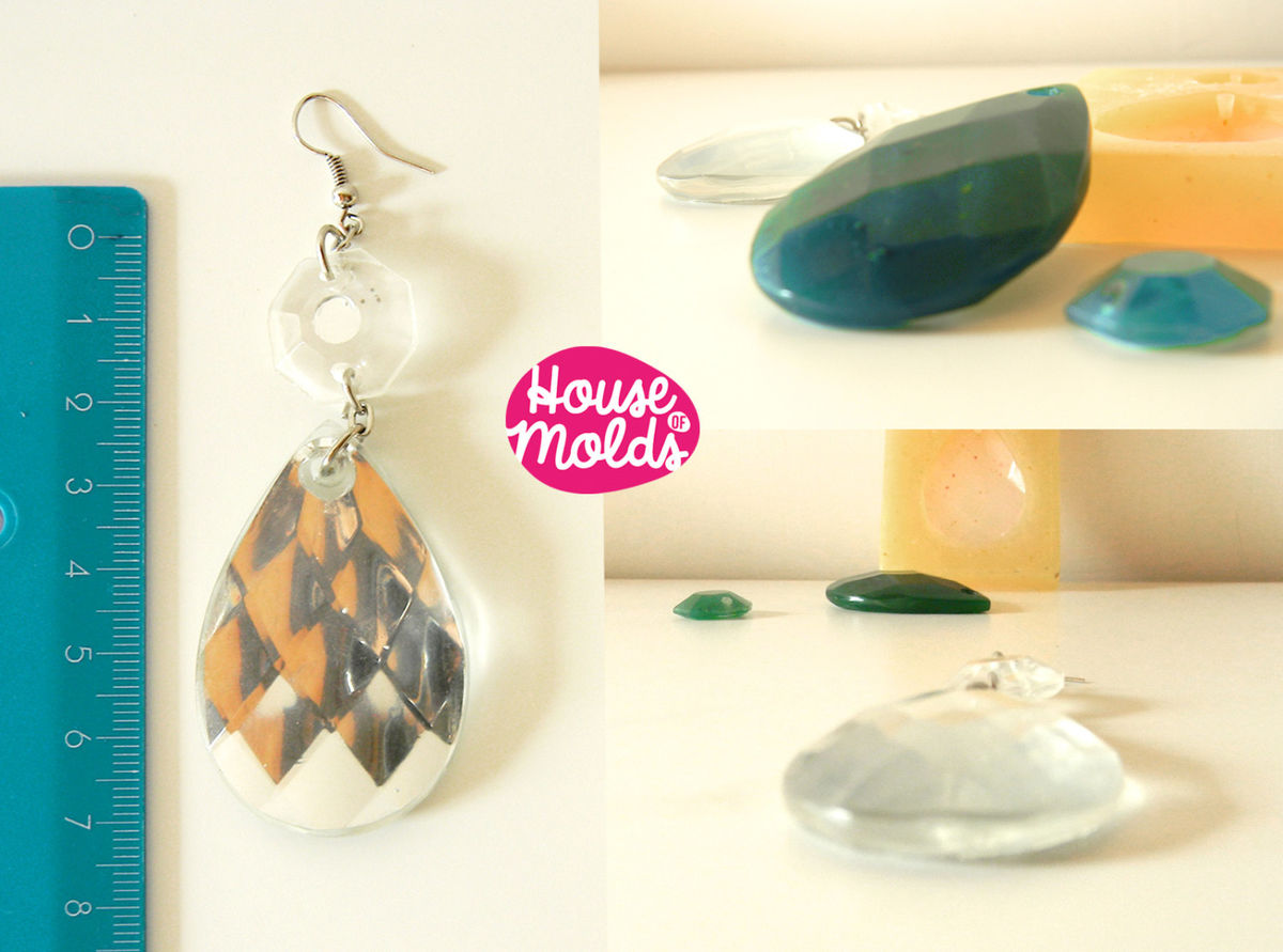 Faceted Teardrop Earrings Set ,Silicone Mold to make resin earrings,1 single mold pre-made holes -flat back - product images  of