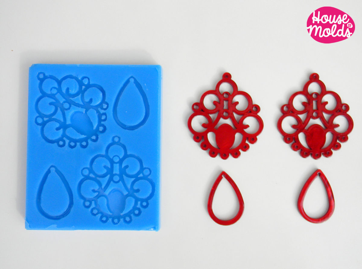 Chandelier Earrings Set + drop elements ,Silicone Mold,shiny creations,4 cavityes - product images  of