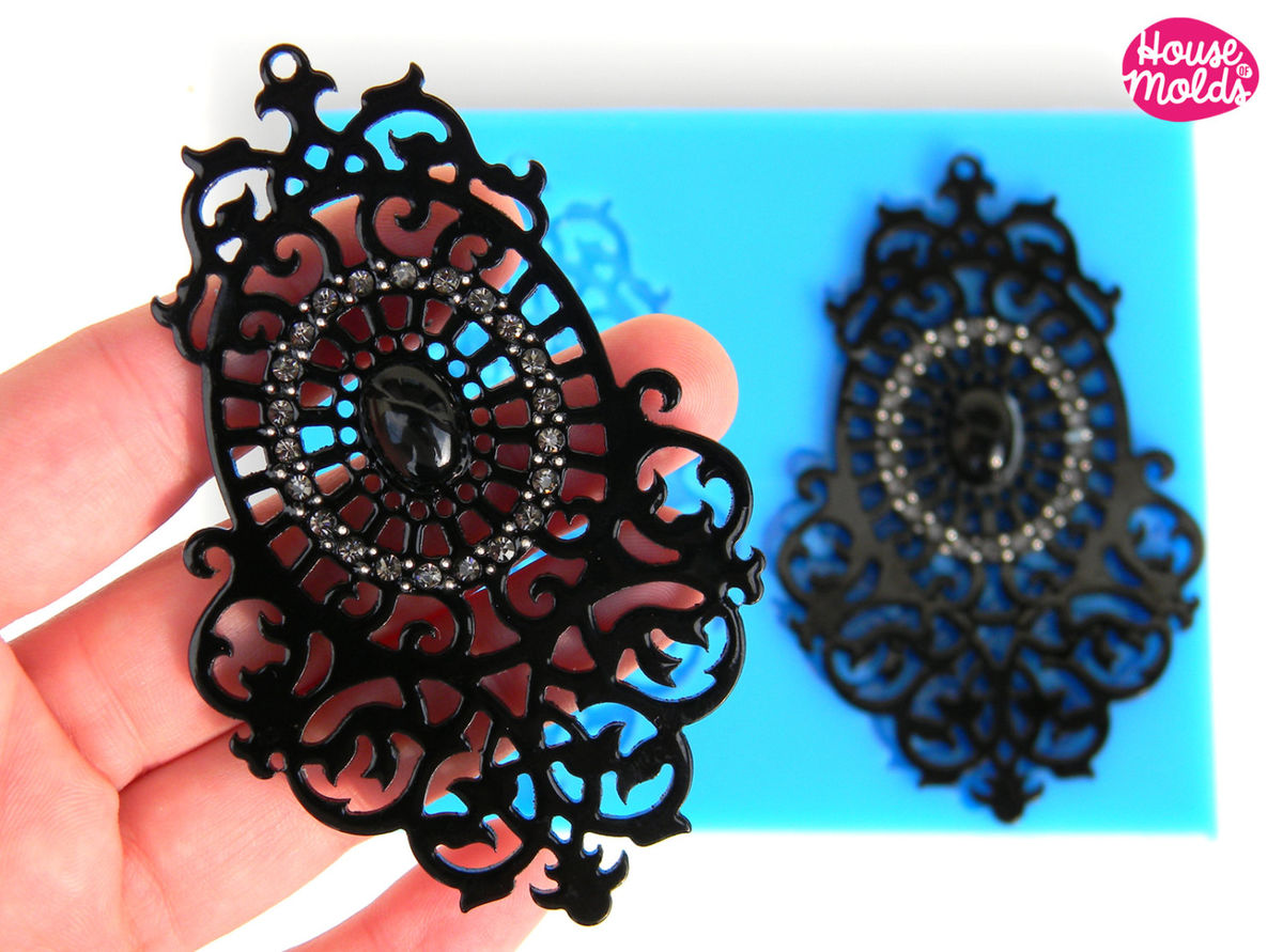 Chandelier Filigree Earrings Set ,Silicone Mold, resin earrings mold size 92mmx 58 mm - product images  of