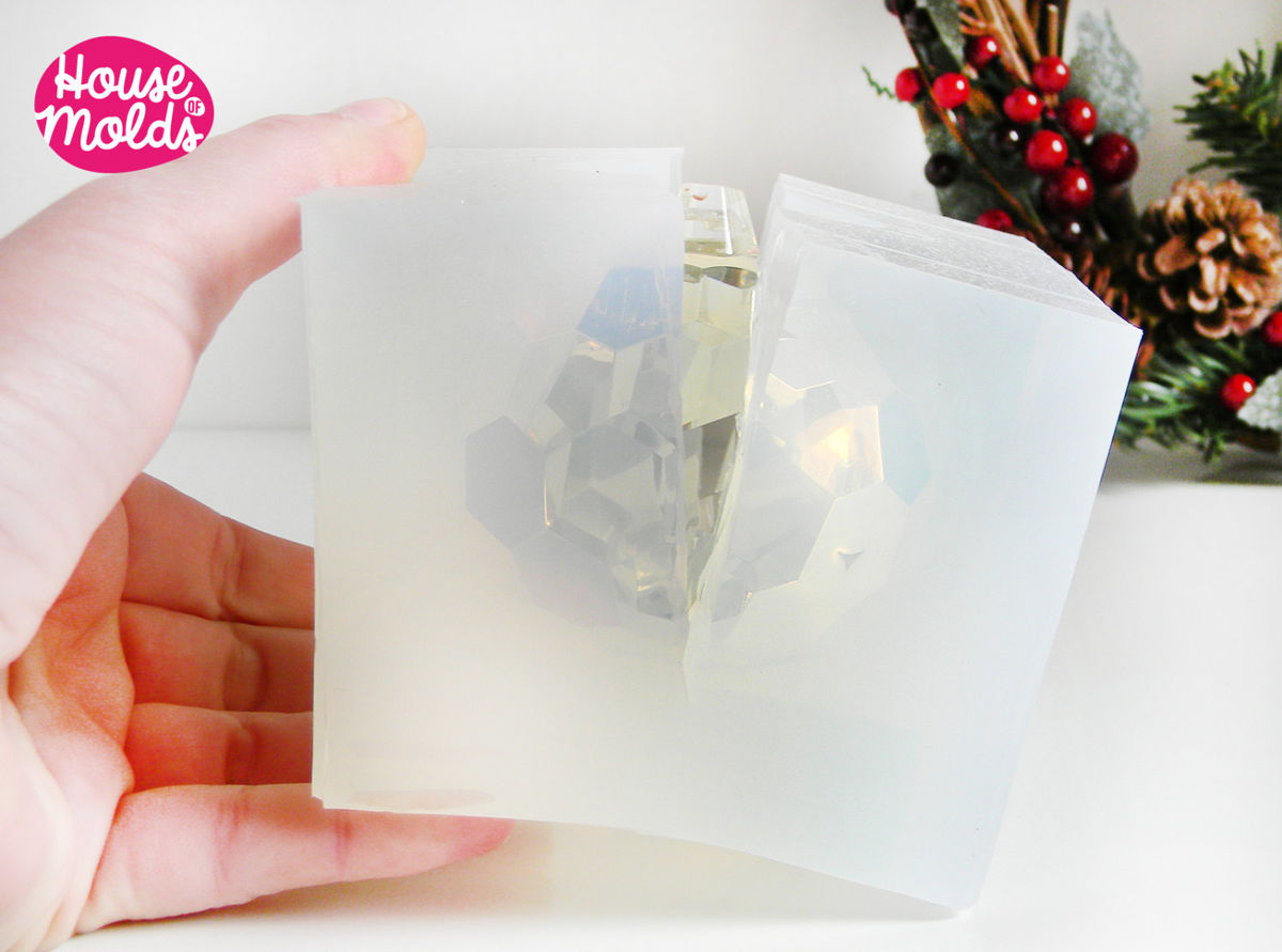 Faceted ball Clear Mold for  3D Christmas Ball card holder,art projects,wedding decorations,house of molds crystal clear molds - product images  of