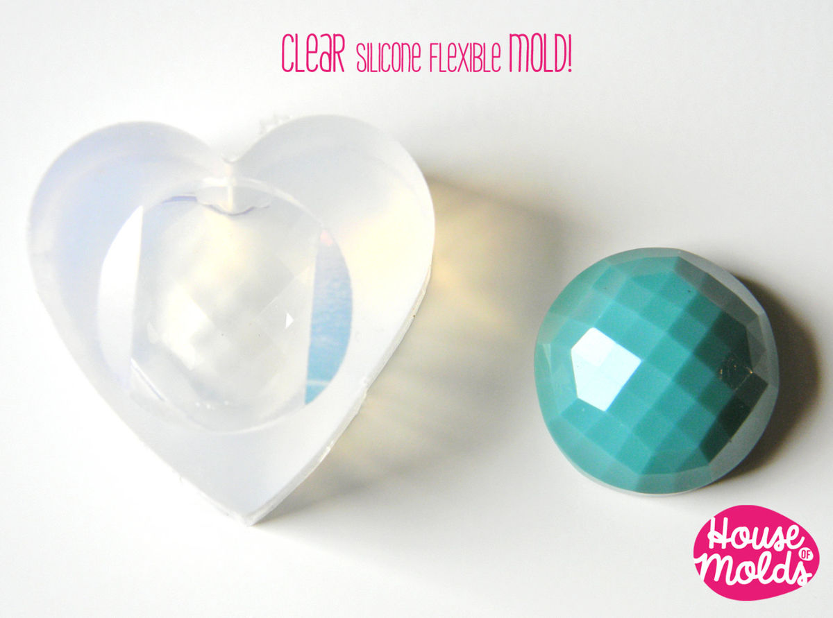 Clear Mold for 23 mm Multifaceted Cabochon-great as pendant or ring top-super shiny surface! - product images  of