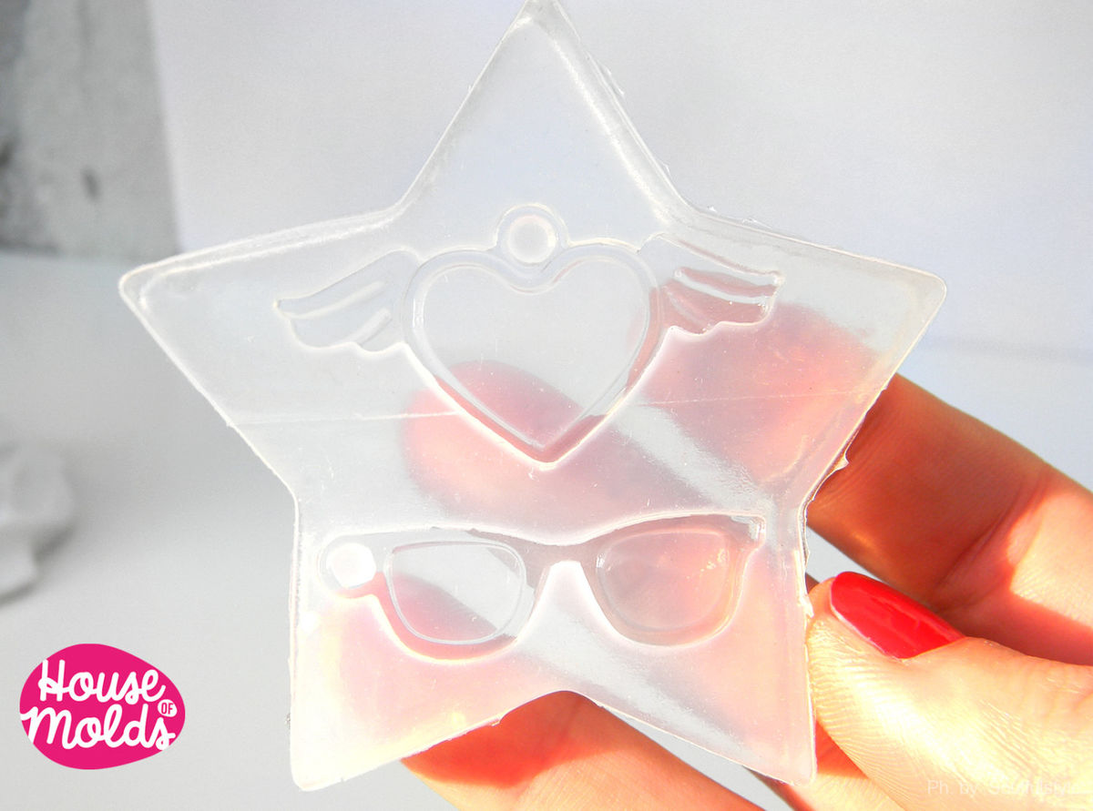 Mold for make Winged Heart and Sunglasses Charms-Clear Flexible silicone rubber mold for resin - product images  of