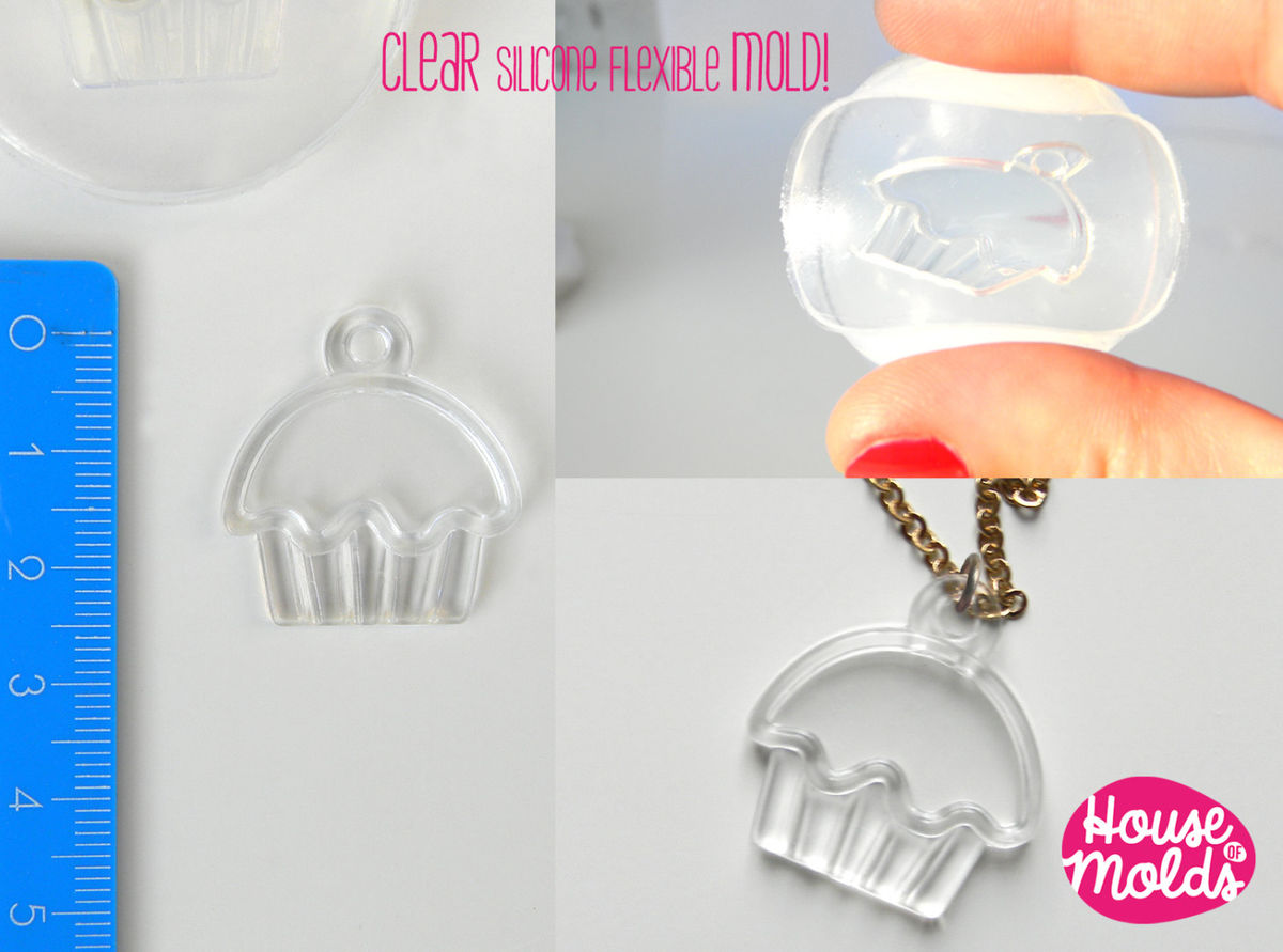 Cupcake Charm Mold-Clear Flexible silicone rubber mold for resin - product images  of