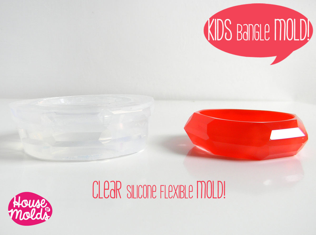 Kids Faceted Bangle Clear Silicone Mold-Mold to create Kids Bangles - product images  of
