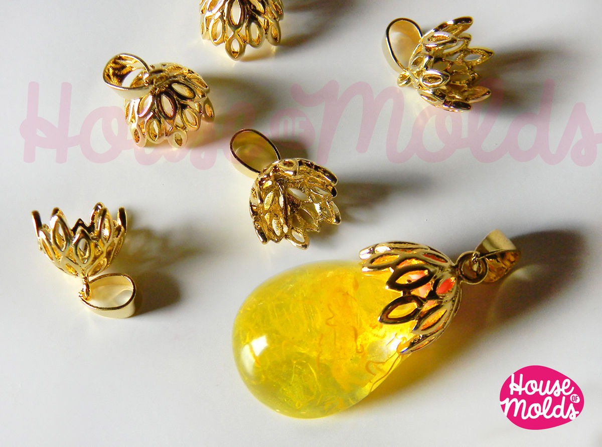 Filigree Cups With Pinch Smooth Stud Inside Br Setting For Pendants 10 Mm Diameter Gold Silver Or Steel Colour