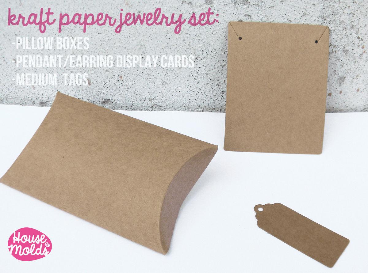 Kraft Paper Simple Blank Jewelry Packaging Set Pillow Bo Pendants Earrings Display Card