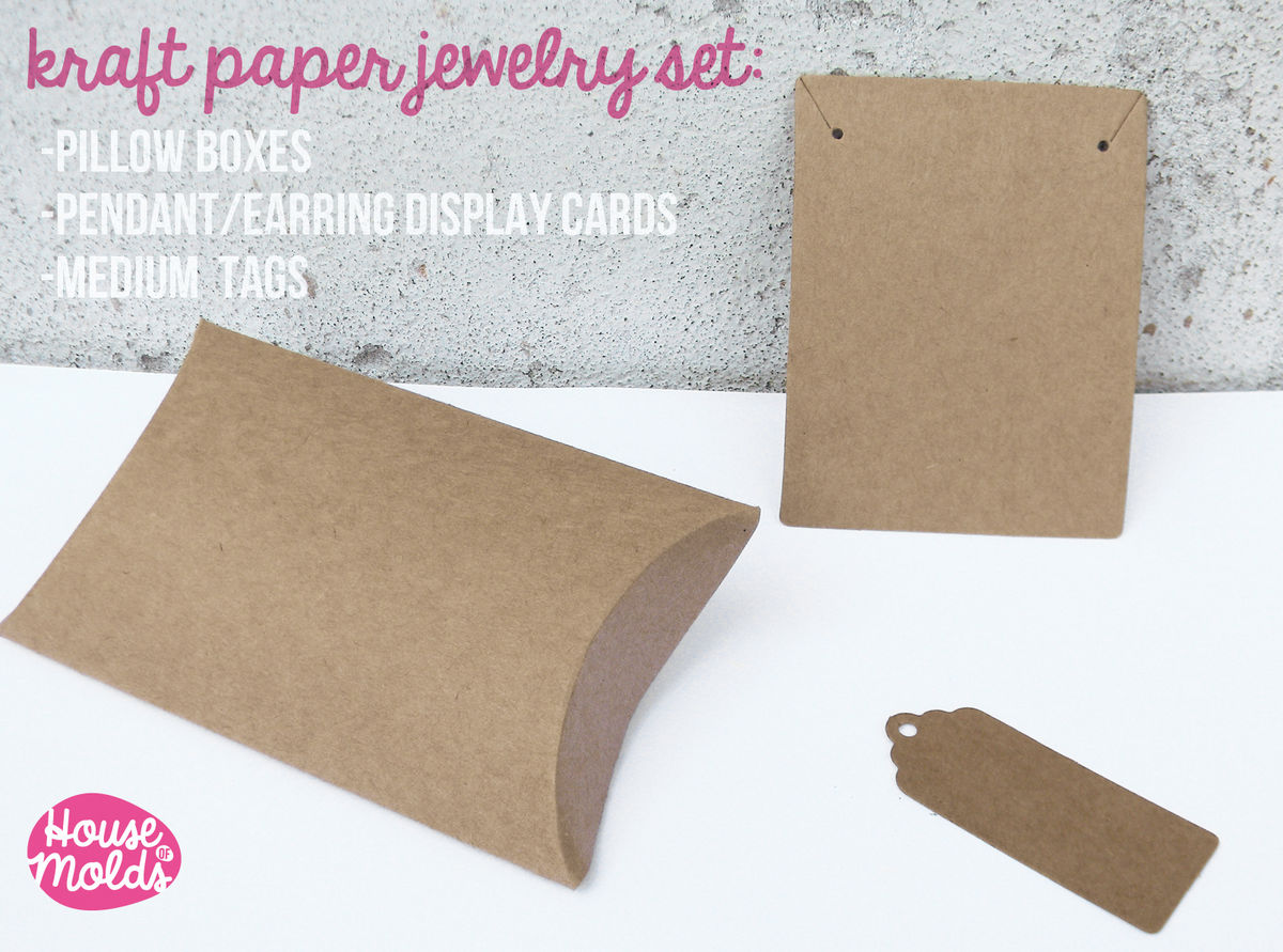 Kraft Paper Simple Blank Jewelry Packaging Set:Pillow Boxes,Pendants/earrings Display card and Paper Tags-  - product images  of