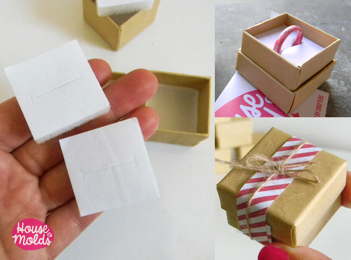 10 Kraft Paper Tiny Jewelry Boxes-37 mm x 31 mm Blank Boxes for rings-stud earrings-pendants-keychains-pins-simple to customize- - product images  of