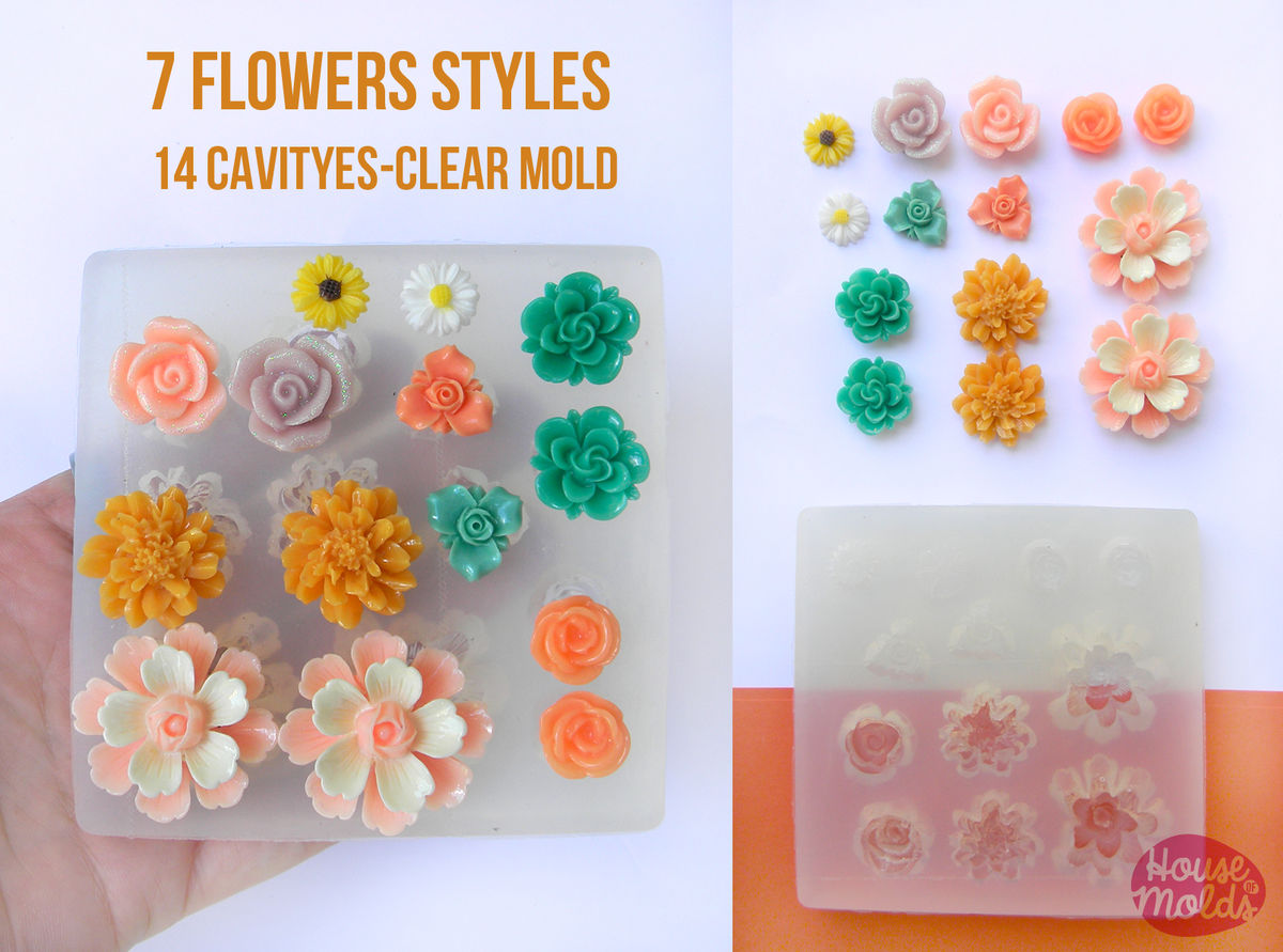 Flowers set clear silicone mold 14 cavityes 7 flowers styles for flowers set clear silicone mold 14 cavityes 7 flowers styles for earrings pendants makingstunning results in one pour aloadofball Choice Image