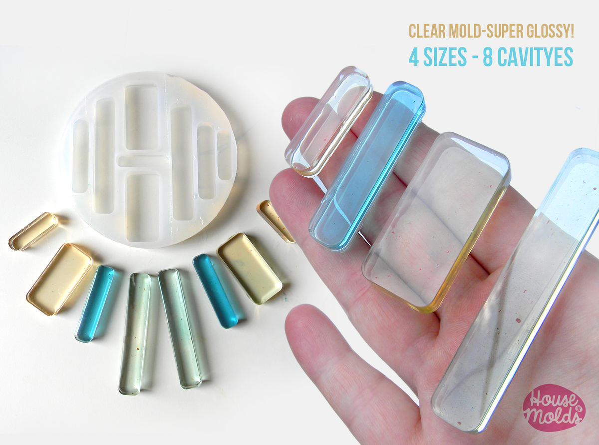 ROUNDED RECTANGLES Clear Mold 4 sizes , transparent Mold  to make resin collier, earrings single or multiple pendants-very shiny surface super easy to use! - product images  of