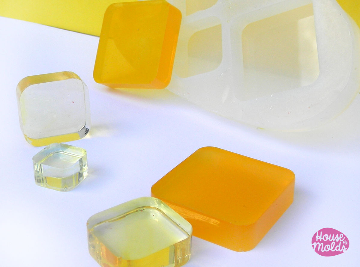ROUNDED SQUARES Mold 3 sizes , transparent Mold  to make resin collier, earrings single or multiple pendants-very shiny surface super easy to use! - product images  of