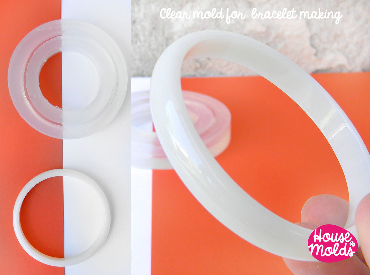 Stackable Thin Bracelet Clear Mold,resin bangle maker mold ,silicone mold 6,8 inner diameter bangle - product images  of