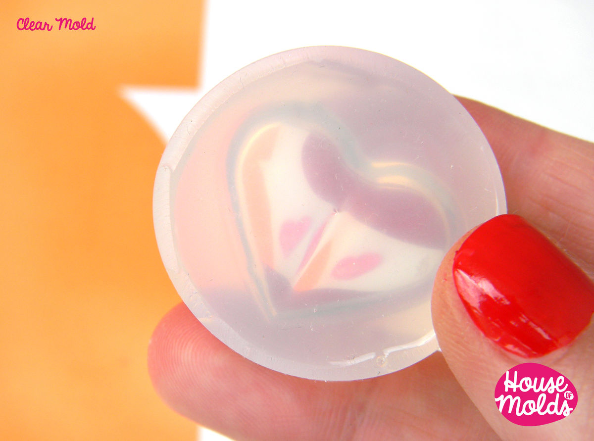 Puffed Heart Clear Mold -24 mm x 29 mm flat back-great as pendant or ring top-super shiny surface! - product images  of