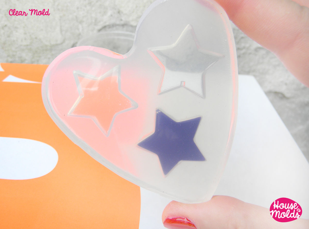 Stars Shapes Clear Mold 27 mm x 29 mm  , transparent Mold  to make resin earrings or pendants- easy to use! - product images  of