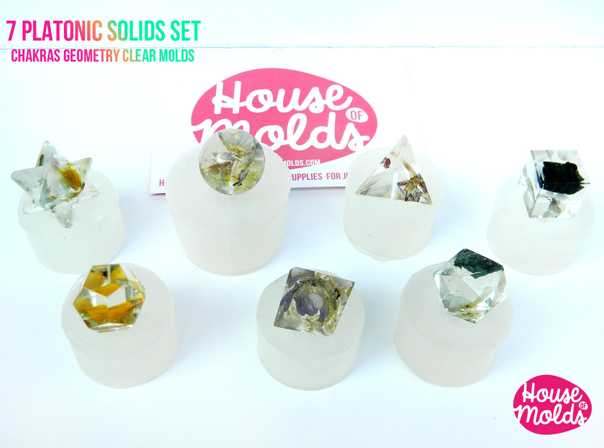 7 PLATONIC SOLIDS SET Clear Silicone Molds - HOUSE OF MOLDS-7 Chakra geometry set of molds for resin,super shiny surface  - product images  of