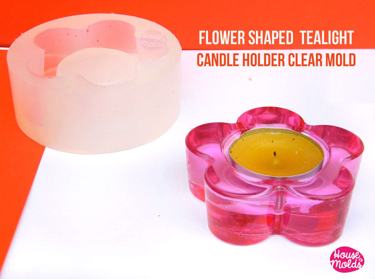 Flower Shaped Tea Light Candle holder Clear Mold - candle holder or tiny pot for plants mold-72 mm external diameter x 24 mm tall-super glossy resin reproduction- - product images  of