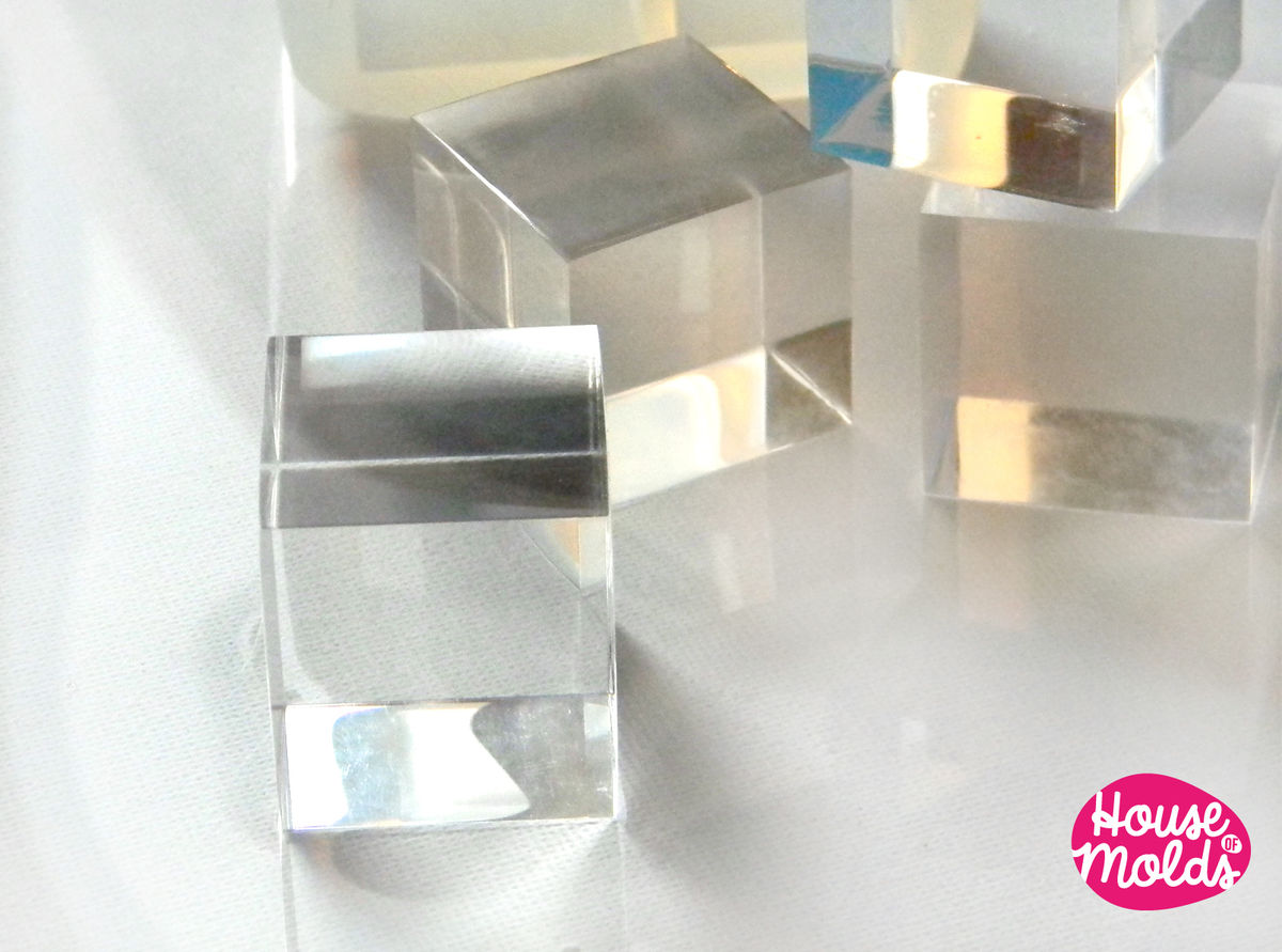 4 cavityes Multi Cubes Clear Mold - 3 cm x 2,7 cm Resin Cubes-HOUSE OF MOLDS-transparent mold super glossy results! - product images  of