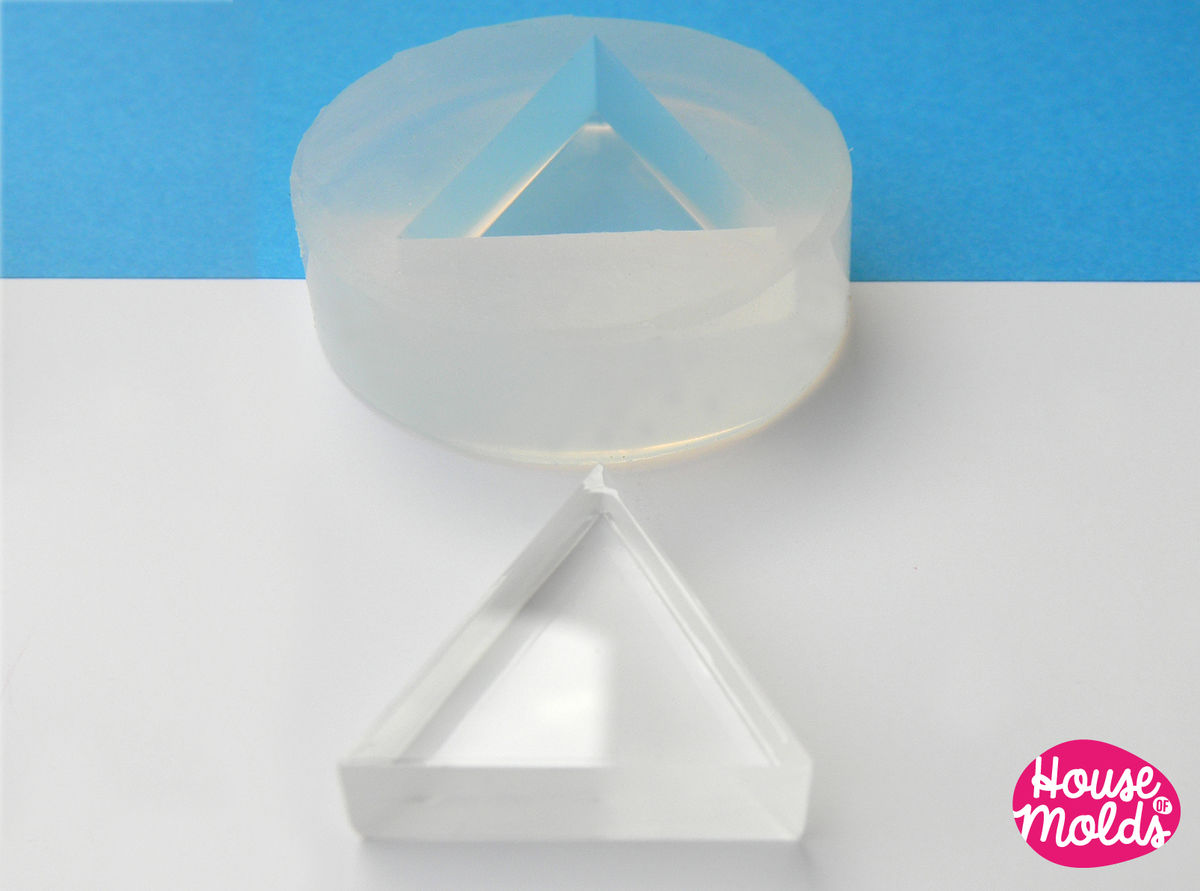 Triangle Clear Mold ,flat triangle transparent Mold  to make resin earrings or pendants-very shiny surface easy to use! - product images  of