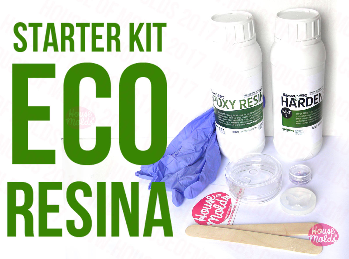 Resin Starter Kit S:Super Clear Eco Resin 720 gr -Uv stable + Clear Butterfly Mold+Gloves mixing cup and stir sticks+ Holographic Flackes GIFTED - product images  of