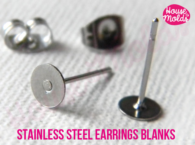 Stainless Steel Studs Earrings Blanks 5 mm diameter, with Backs included-Rounded flat backs easy to glue on or embed - product images  of