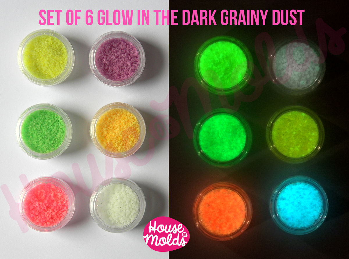Glow In the Dark Grainy Dust Set of 6 -Funny Coloured grains in the light ,bright coloured in the dark--high glowing properties - product images  of
