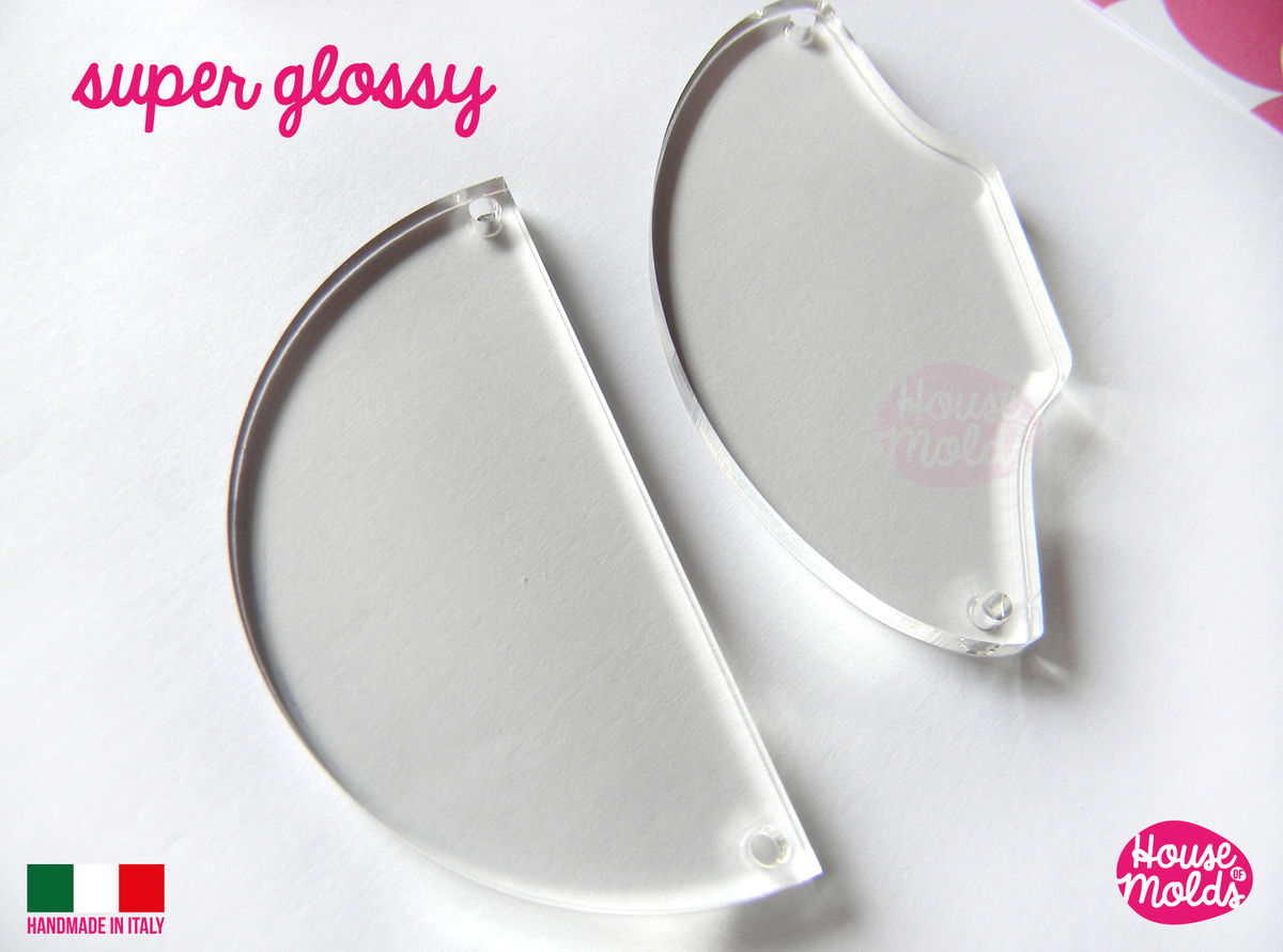 2 BIG Statement pendants Clear Mold :1 Half Circle 1 Flat Shell + Pre Made Holes on sides! Transparent Mold very shiny easy to use ! - product images  of