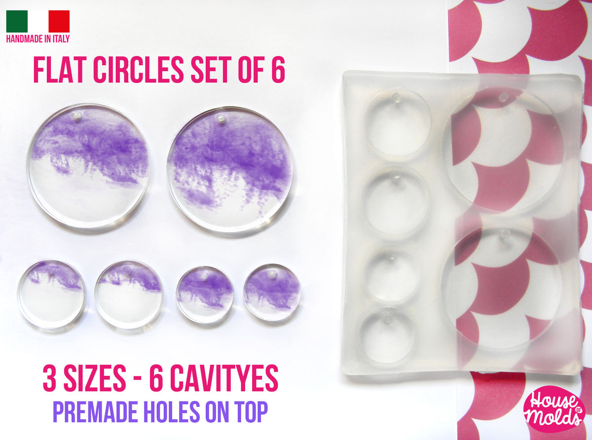 3 Sizes -Multisize Flat Circles+ premade hole on top Clear Silicone Mold, with 6 cavityes- perfect for any resin creations! - product images  of