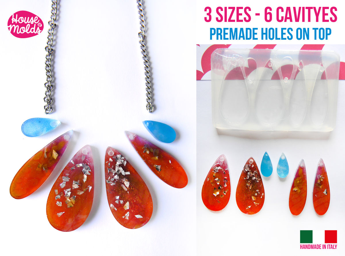 6 cavityes Drops Lover + premade holes on top Clear Flexible Silicone Mold- super glossy resin creations very shiny surface easy to use ! - product images  of
