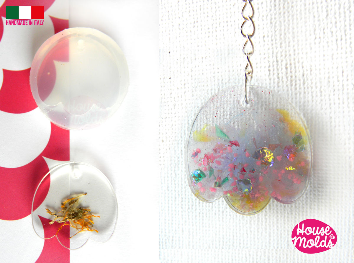 Tulip Clear Mold with Pre Made Hole on Top! Transparent Mold to make earrings or pendants: super shiny and easy work with-made in italy - product images  of