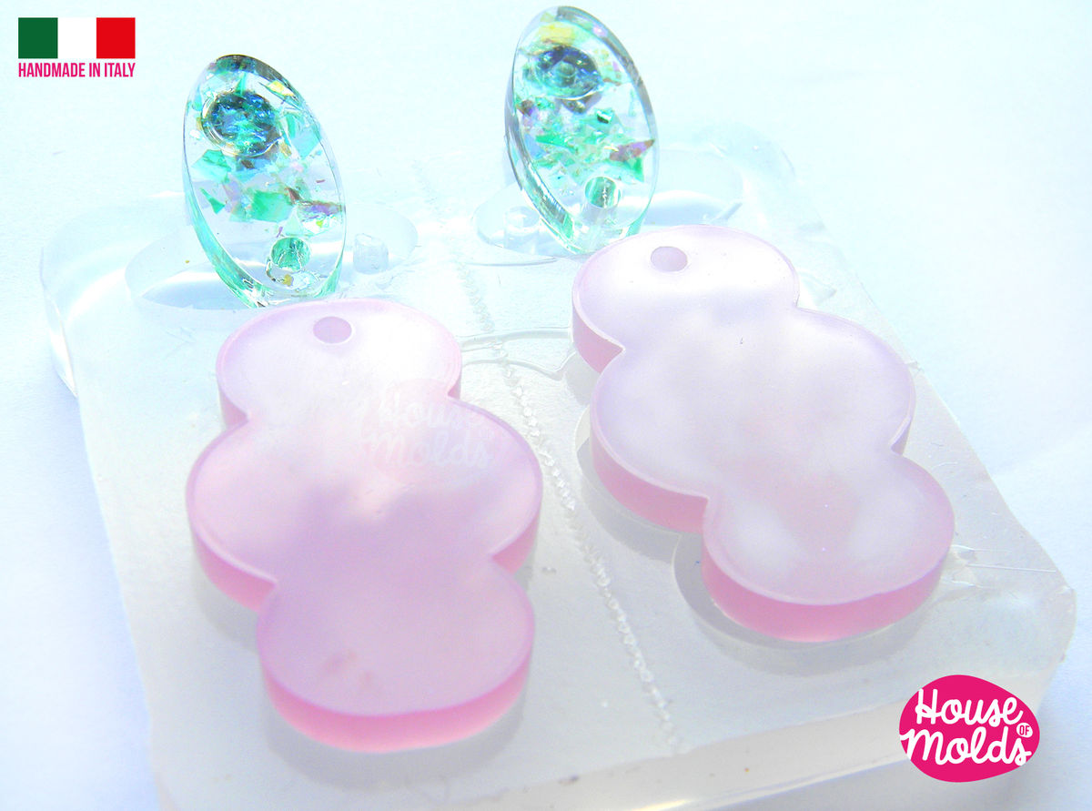 Set of 4 Flats 2 Ovals and 2 Clouds Clear Mold with Pre Made Holes on Top! Transparent Mold to make earrings or pendants: super shiny - product images  of