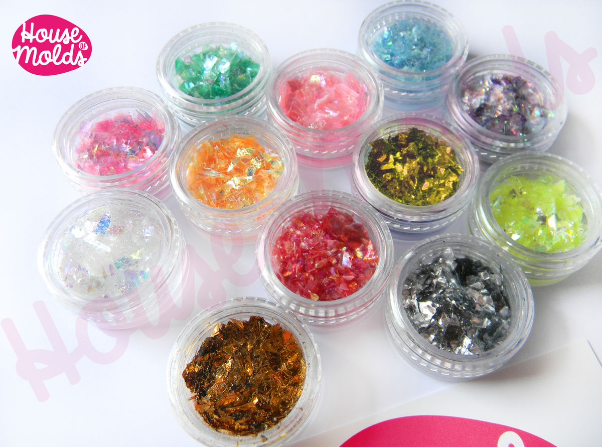 Holographic Flakes set of 12 ,sparkly and with amazing special effects flakes for resin or nail art-Add some magic to your creations! - product images  of