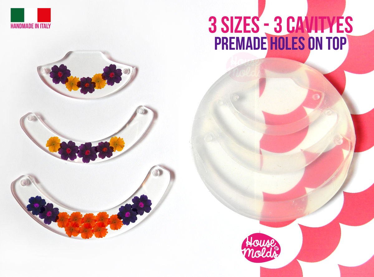2 Smiles Bibs and 1 Small Flat Shell Clear resin Mold+ Pre Made Holes on sides! Transparent Mold very shiny easy to use . - product images  of