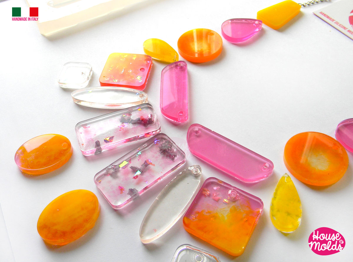 20 Cavityes Multi Shapes Big Clear Mold with Pre Made Holes on Top ! Transparent Mold to make 10 different shapes squares , circles,trapezes,drops,and more to creates  super shiny resin ! - product images  of