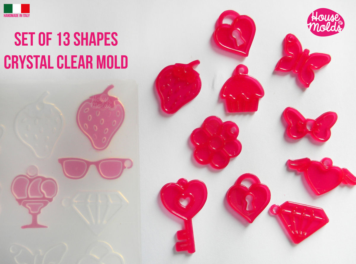 13 Cavityes Multi Shapes Clear Mold + premade holes silicone Mold to make 13 kawaii shapes strawberry ,icecreams ,hearts ,cupcake and more to creates  super shiny resin ! - product images  of