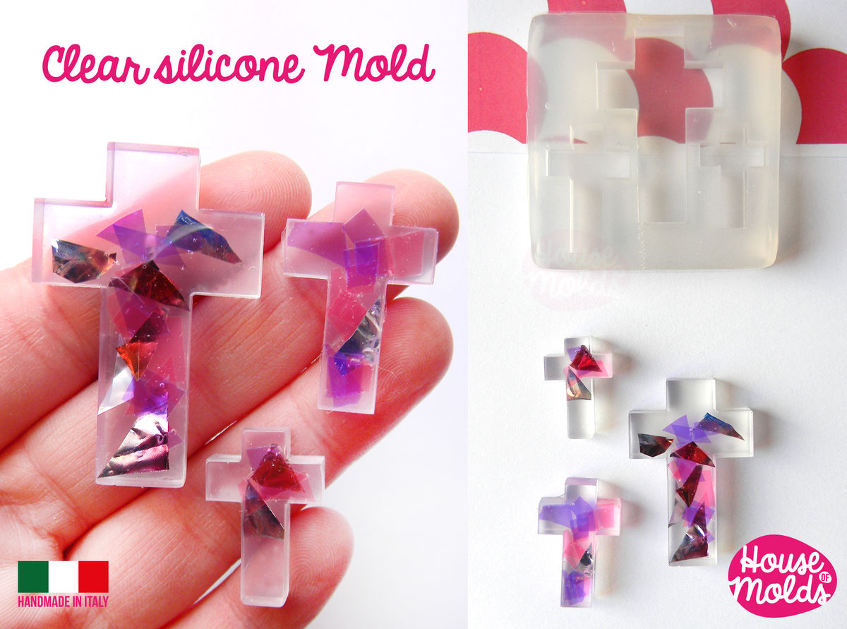 Cross shapes Clear resin Mold, 3 sizes simple cross Transparent Mold very shiny easy to use ,houseofmolds design - product images  of