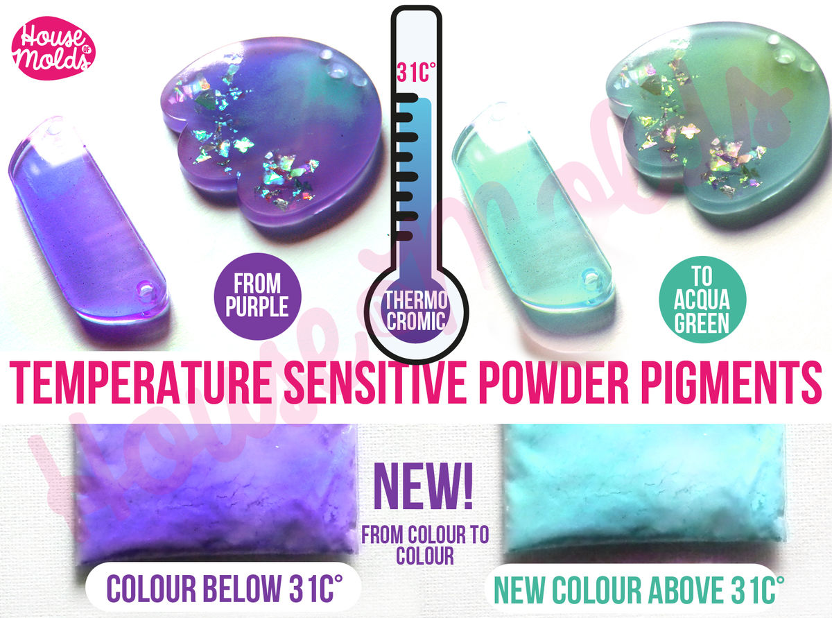 2 Colours Temperature sensitive Special Powder Pigments , Colour 1 at 31C (87.8 F)changes to Colour 2 above 31C-Just magic - product images  of