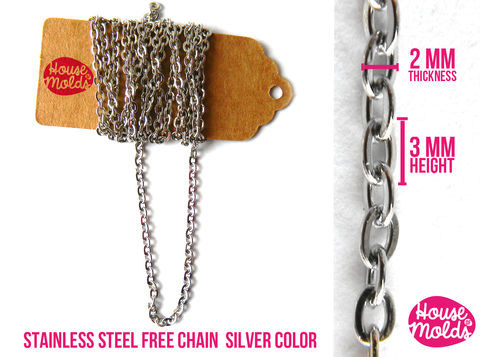 Stainless,Steel,Free,Chain,2,mm,thickness-Silver,Colour-,create,your,Necklace,bracelet,dangles,earrings,and,more,-houseofmolds,Jewelry,findings,resin_hole_bead,steel_chain,bead_supplies,resin_crafters,stainless_steel,chain,steel_necklace,pendant_chain,resin_chain,necklace_for_sphere,sphere_chain,pendant_necklace,nickel free,stainless steel