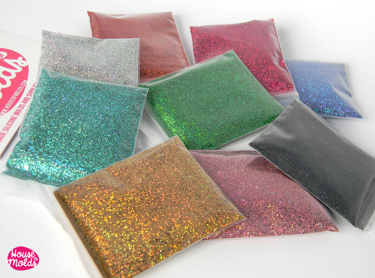 Rainbow Laser Glitter set of 9 ,sparkly and with amazing special rainbow effect for resin or nail art-Add some magic to your creations! - product images  of