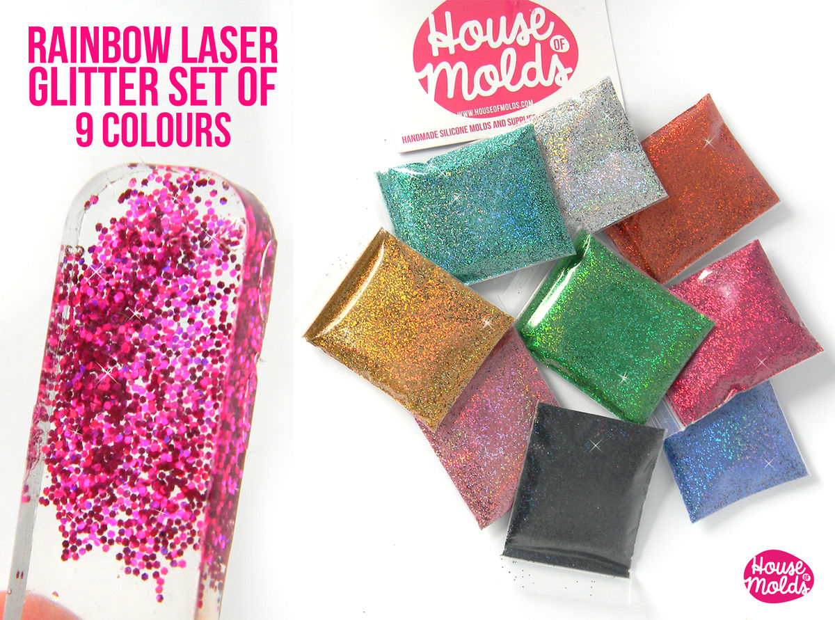 Rainbow Laser Glitter set of 9 ,sparkly and with amazing special ...