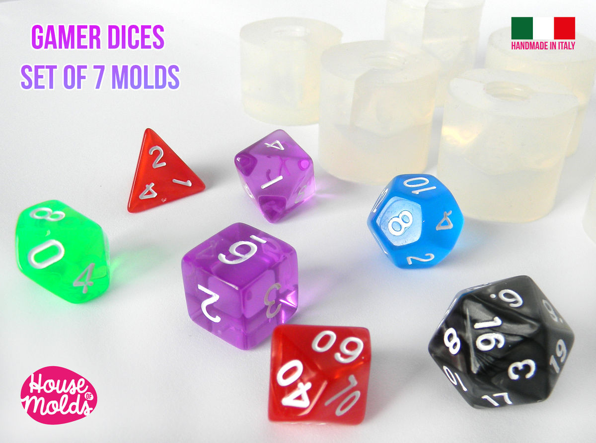 Gamer Dices Set of 7 Clear Silicone Molds - HOUSE OF MOLDS-7 Role Play dices with number engraved silicone clear molds,super shiny surface - product images  of
