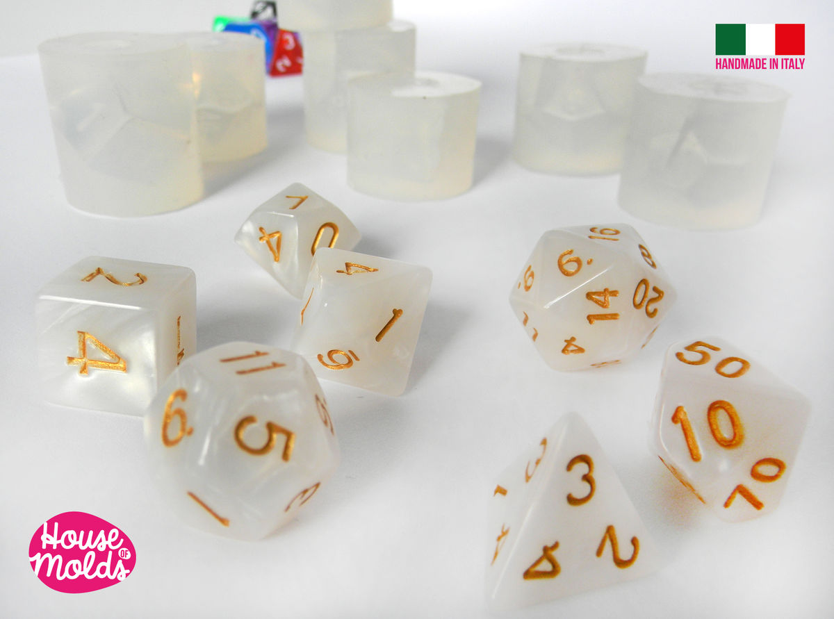 Gamer Dices Set of 7 Clear Silicone Molds - HOUSE OF MOLDS-7