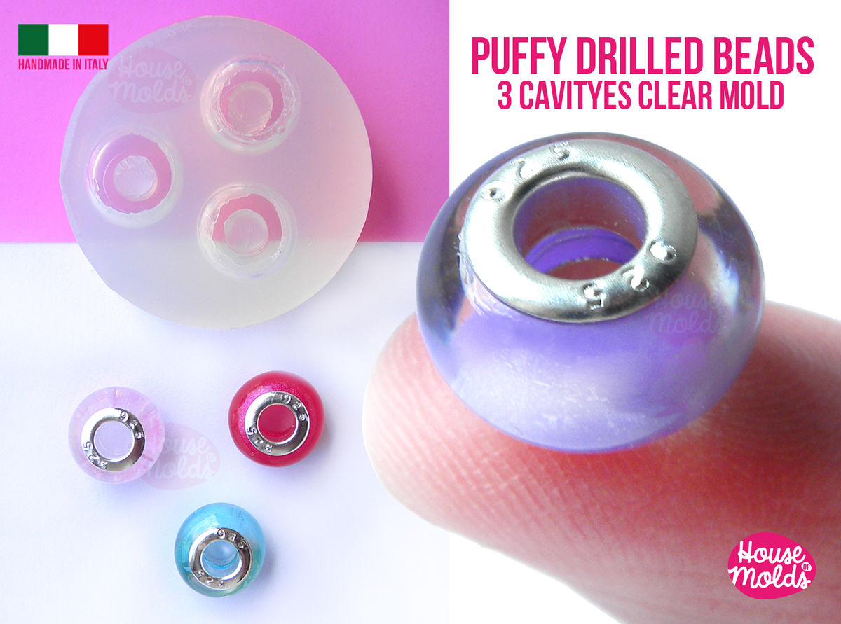 3 Cavityes Puffy Drilled Beads Clear Mold ,Mold for 3 Round Resin beads 14 mm outer diameter 5,5 mm inner hole - super glossy ! - product images  of