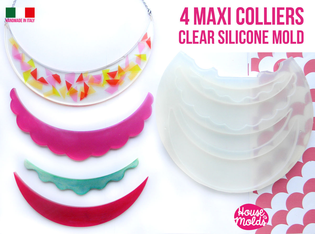 4 Maxi Colliers Clear Mold :2 half moon + 2 scalloped - Transparent Mold very shiny easy to use ! - product images  of